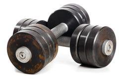 Due barbells usati del metallo Fotografie Stock Libere da Diritti