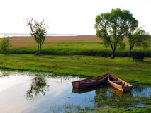 Due barche di legno Fotografia Stock