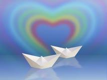 Due barche e cuori del Rainbow Fotografie Stock