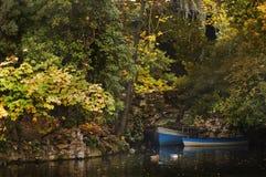 Due barche ed anatre in un angolo del lago immagini stock libere da diritti