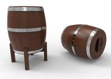 Due barilotti di legno Fotografia Stock