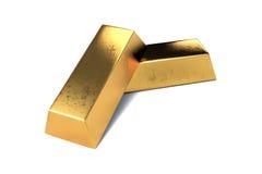 Due barre di oro su fondo bianco isolato Fotografia Stock