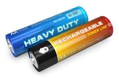 Due batterie di aa Immagini Stock