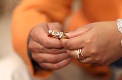 Due bei anelli su cerimonia dell'anello Fotografia Stock