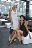 Due bei modelli che portano i vestiti dai progettisti Fotografia Stock Libera da Diritti