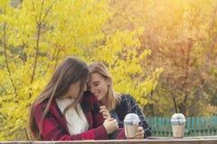 Due belle giovani donne sveglie che hanno conversazione in parco fotografie stock libere da diritti