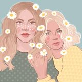 due belle ragazze con le margherite in suoi capelli royalty illustrazione gratis