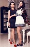 Due belle sorelle che posano a casa Fotografia Stock