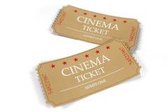 Due biglietti del cinema isolati su fondo bianco, vista superiore, primo piano illustrazione 3D illustrazione di stock