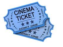 Due biglietti del cinematografo su bianco Fotografia Stock Libera da Diritti