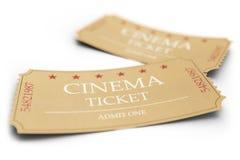 Due biglietti di film isolati su fondo bianco, con effetto di profondità di campo, primo piano Il cinema ammette che uno ettichet illustrazione di stock