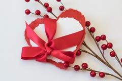 Due biglietti di S. Valentino di carta del cuore legati con il nastro rosso del raso con gli spruzzi delle bacche rosse Fotografia Stock