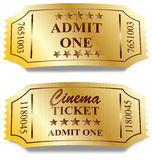 Due biglietti dorati Fotografia Stock