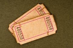 Due biglietti lacerati usati vecchio spazio in bianco Fotografia Stock Libera da Diritti