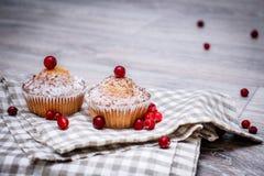 Due bigné, spruzzati con zucchero in polvere e decorati con le bacche rosse su un tovagliolo a quadretti di tela su un piano d'ap immagini stock libere da diritti