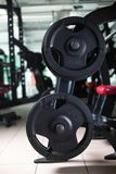 Due bilancieri lunghi su un supporto Supporto del bilanciere su un fondo vago della palestra Teste di legno nere pesanti e enormi Fotografie Stock Libere da Diritti