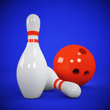 Due birilli e palle da bowling sul blu royalty illustrazione gratis