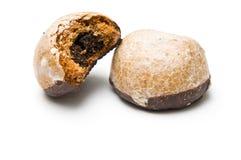 Due biscotti del miele con un morso Fotografia Stock