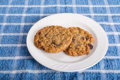 Due biscotti di uva passa della farina d'avena sul piatto bianco Immagine Stock Libera da Diritti