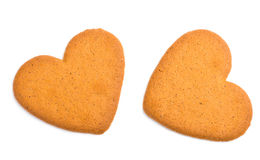 Due biscotti a forma di del cuore Immagini Stock