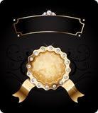 Due blocchi per grafici dorati con i diamanti per il disegno Fotografie Stock Libere da Diritti