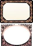 Due blocchi per grafici floreali neri illustrazione di stock