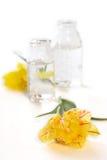 Due bottiglie con i fiori Fotografie Stock