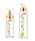 Due bottiglie cosmetiche trasparenti Fotografie Stock Libere da Diritti