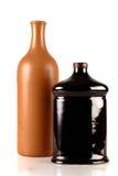 Due bottiglie decorative isolate su bianco Fotografie Stock Libere da Diritti