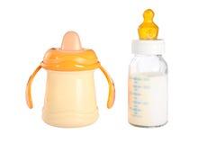 Due bottiglie di bambino Fotografie Stock
