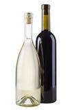 Due bottiglie di vino - colore rosso e bianco Immagini Stock