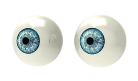 Due bulbi oculari su bianco Fotografie Stock