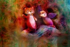 Due burattini animali, volpe ed uccello viola, su fondo astratto con lo spazio del testo Fotografia Stock Libera da Diritti