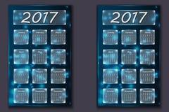Due calendari con l'anno astratto del fondo del bokeh nel 2017 Immagini Stock