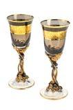 Due calici alti del vino immagine stock