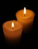 Due candele bianche Fotografia Stock