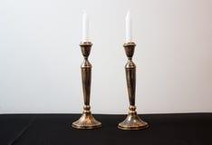 Due candele brucianti per Shabbat Immagine Stock Libera da Diritti