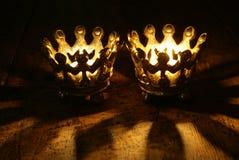 Due candele della parte superiore Fotografia Stock
