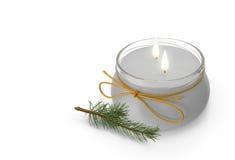 Due candele e un ramoscello dell'abete rosso immagine 3d Fotografia Stock