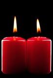 Due candele rosse Fotografia Stock Libera da Diritti