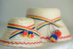 Due cappelli maschii tradizionali rumeni, uno più grande ed uno più piccolo, specifico alla parte settentrionale del paese Immagini Stock Libere da Diritti