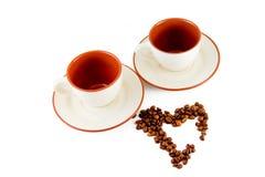 Due cappucci per caffè Fotografia Stock