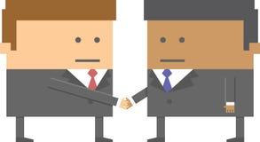 Due 2 caratteri degli uomini d'affari che stringono le mani nel bit 8 Fotografie Stock