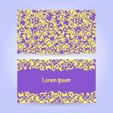 Due carte con l'ornamento astratto nei colori gialli e viola Immagini Stock Libere da Diritti