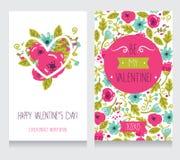 Due cartoline d'auguri per il San Valentino, progettazione floreale disegnata a mano sveglia Fotografie Stock