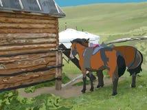 Due cavalli davanti alla casa di legno Immagine Stock