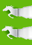 Due cavalli di carta che strappano carta Fotografia Stock Libera da Diritti