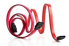 Due cavi rossi di SATA Immagini Stock Libere da Diritti