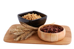 Due cereali di colori con la decorazione Fotografia Stock