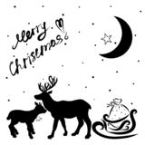 Due cervi svegli, la slitta di Santa ed il desiderio del Christma allegro illustrazione vettoriale